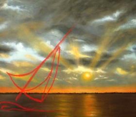 vela rossa al tramonto